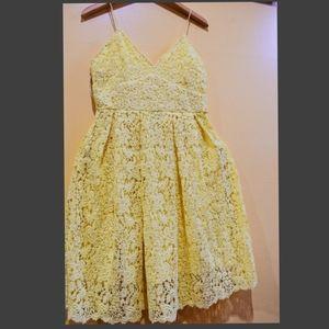 Sunshine Yellow Lace Midi Dress